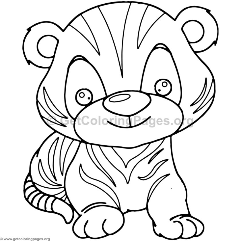 Cute Baby Tiger Animal Coloring