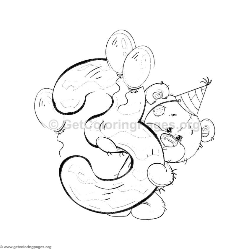 teddy bear number three coloring pages