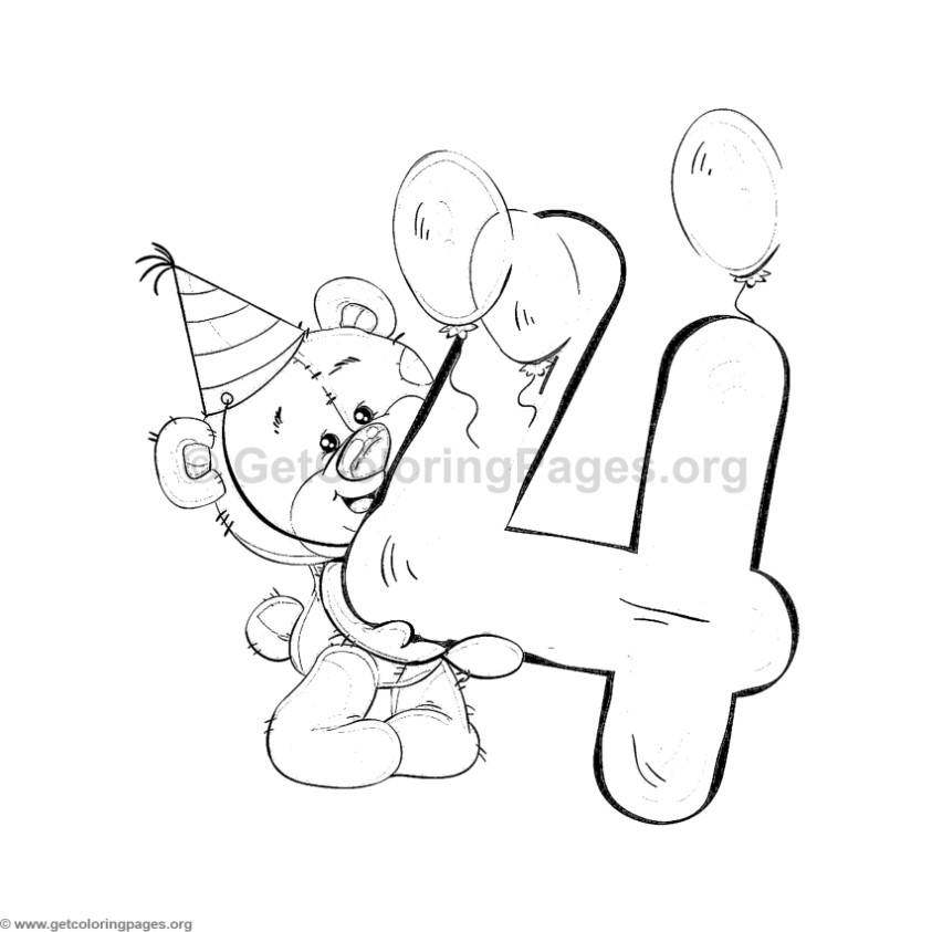 Teddy Bear Number Four Coloring Pages Getcoloringpages Org