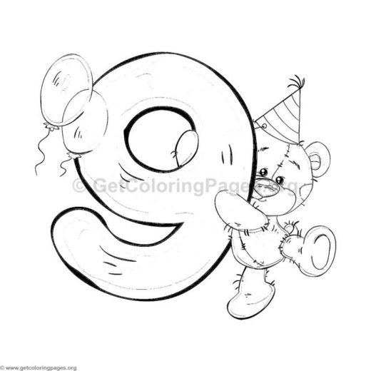 Teddy Bear Number Nine Coloring Pages