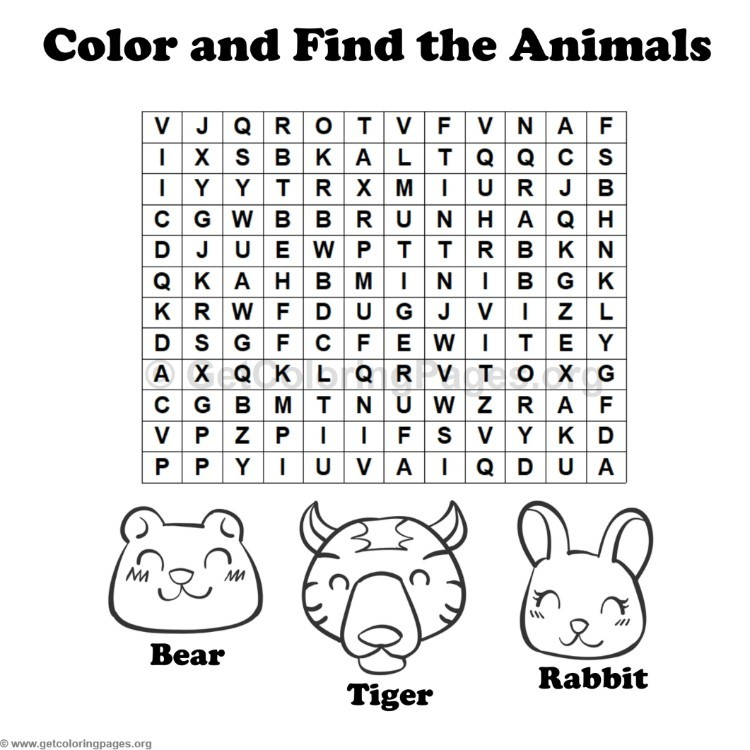 Animal Word Search Coloring Pages #10 – GetColoringPages.org