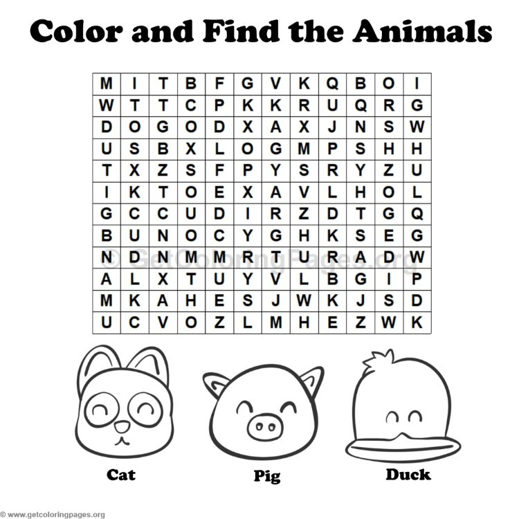 Animal Word Search Coloring Pages #3