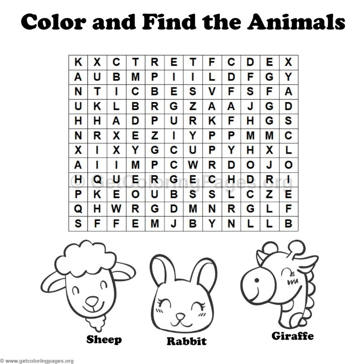 Coloring Pages 4 : Animal word search coloring pages #4 u2013 getcoloringpages.org