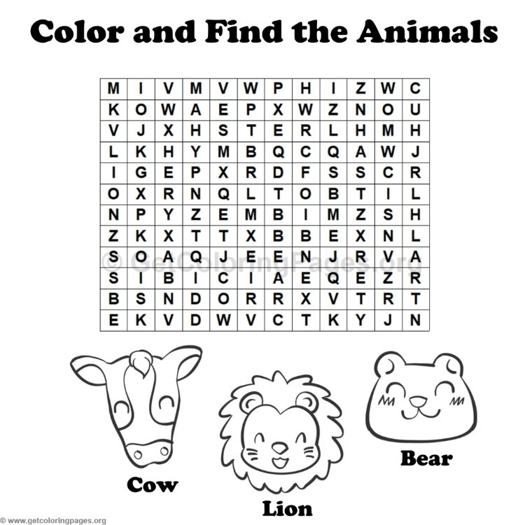 Animal Word Search Coloring Pages