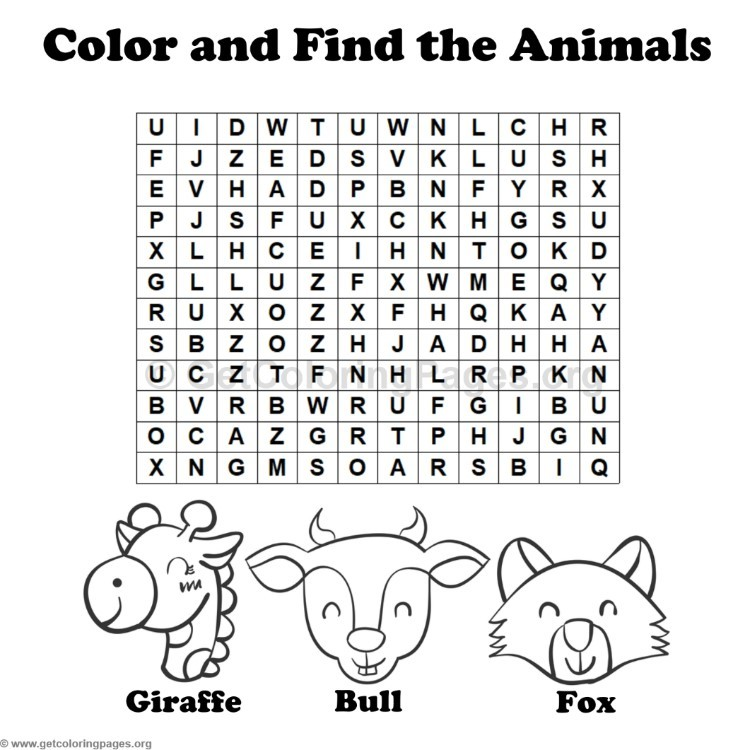 Animal Word Search Coloring Pages 9 GetColoringPages