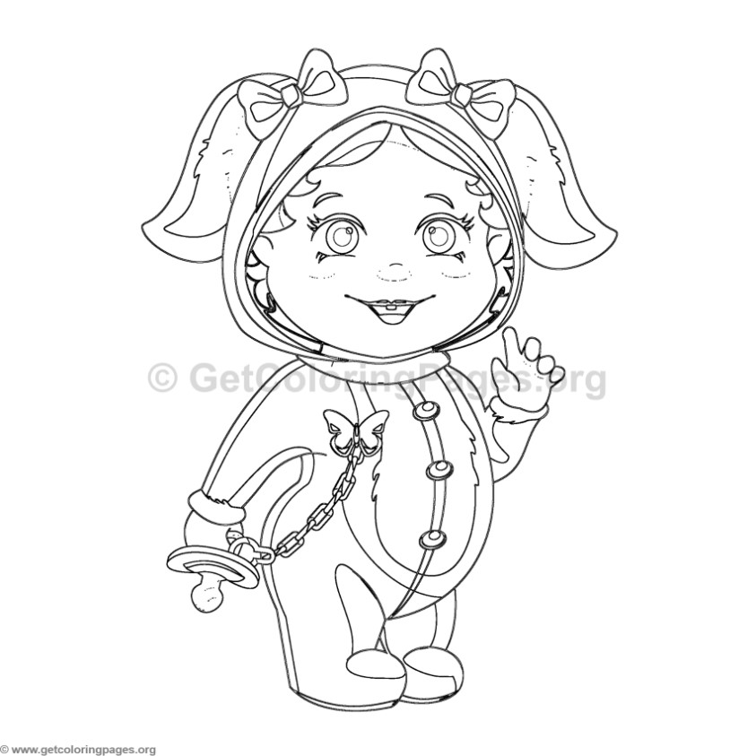 Baby in Bunny Costume Coloring