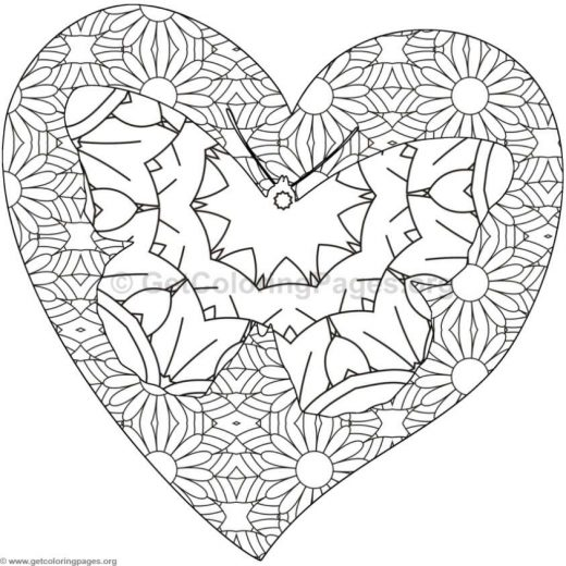 Butterfly And Heart Coloring Pages 10