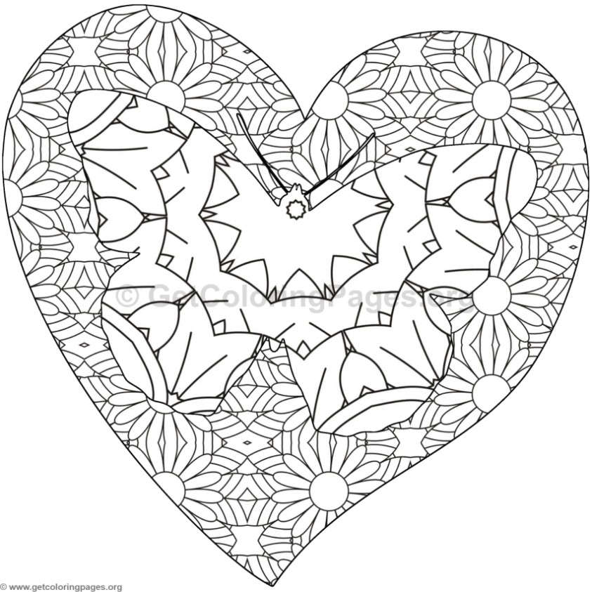 Butterfly and Heart Coloring Pages #10 - GetColoringPages.org