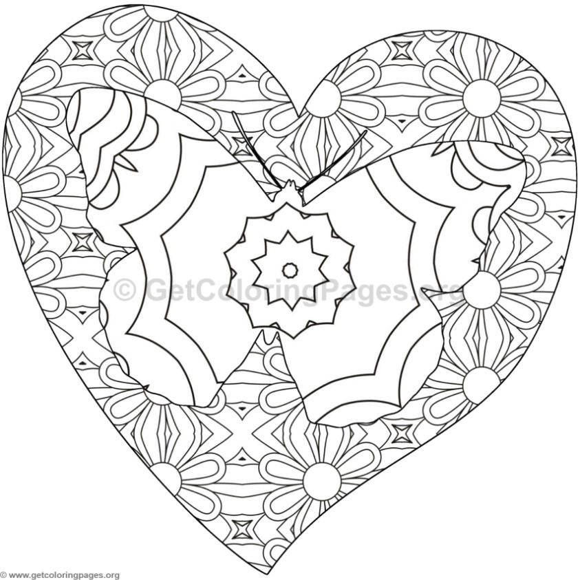 Butterfly and Heart Coloring Pages 4 GetColoringPages