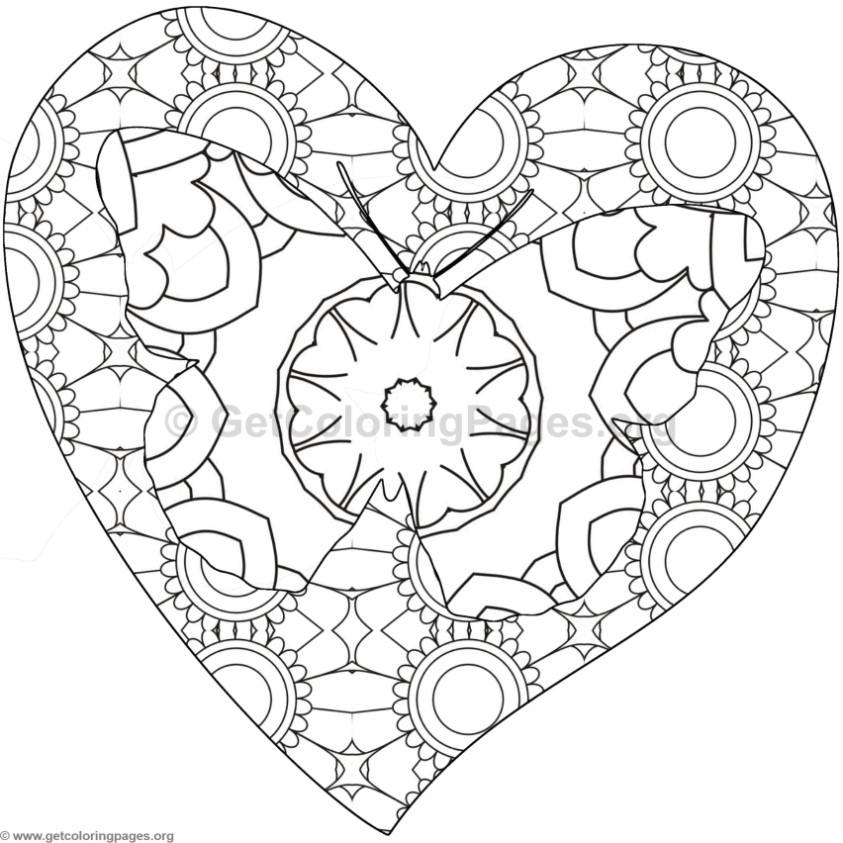 Butterfly And Heart Coloring Pages 5