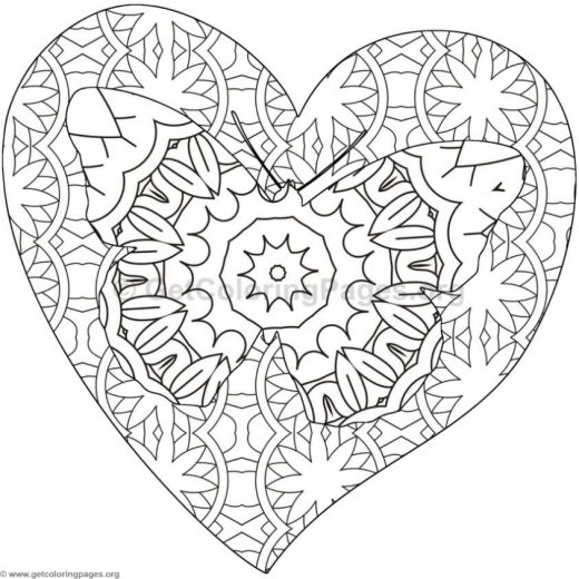 Hearts And Butterflies Pages Coloring Pages