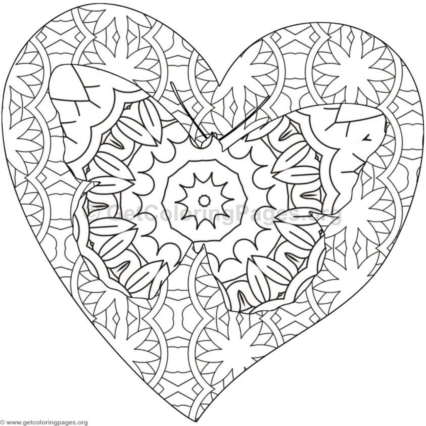 Butterfly and Heart Coloring Pages #6 – GetColoringPages.org