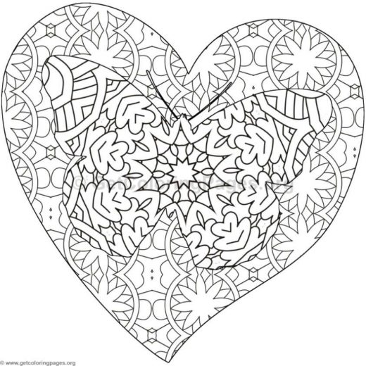 Butterfly Heart And Flower Coloring Pages For Adults