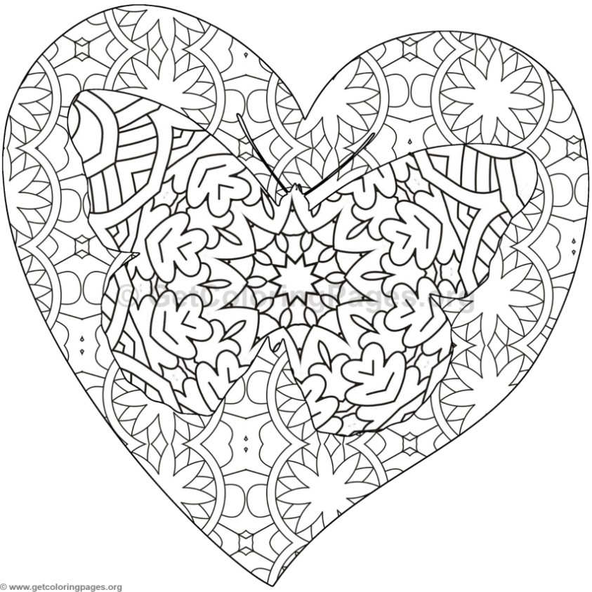 Butterfly and Heart Coloring Pages