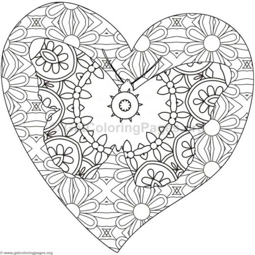 coloring pages of butterflies hearts and flowers – GetColoringPages.org