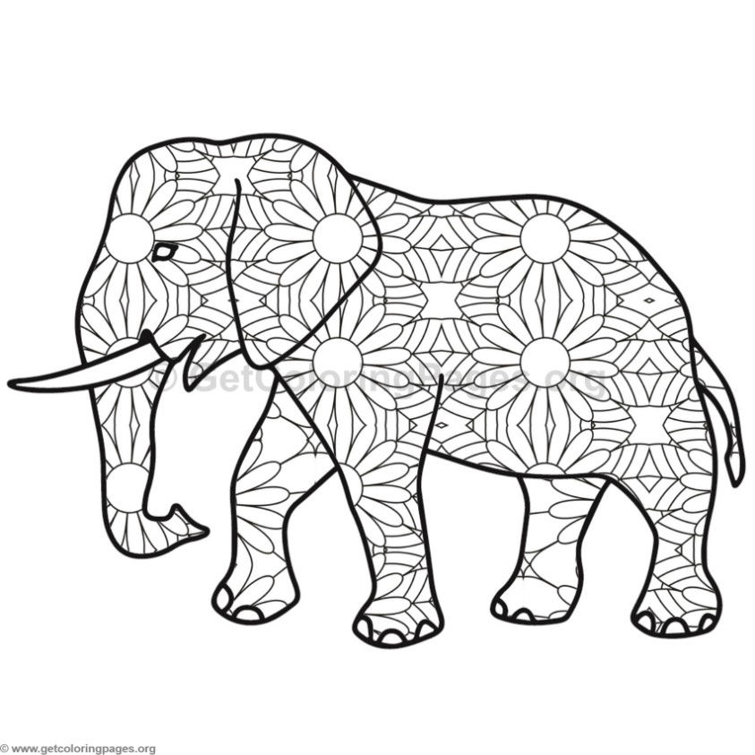 mandala elephant coloring pages easy - photo#32
