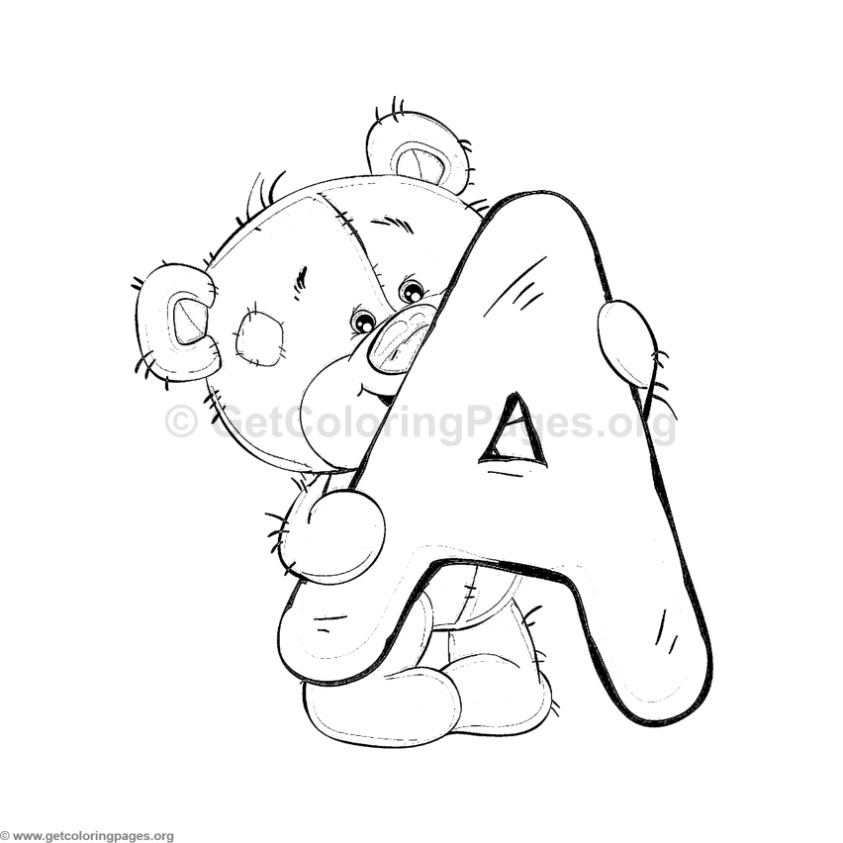 teddy bear alphabet letter a coloring pages