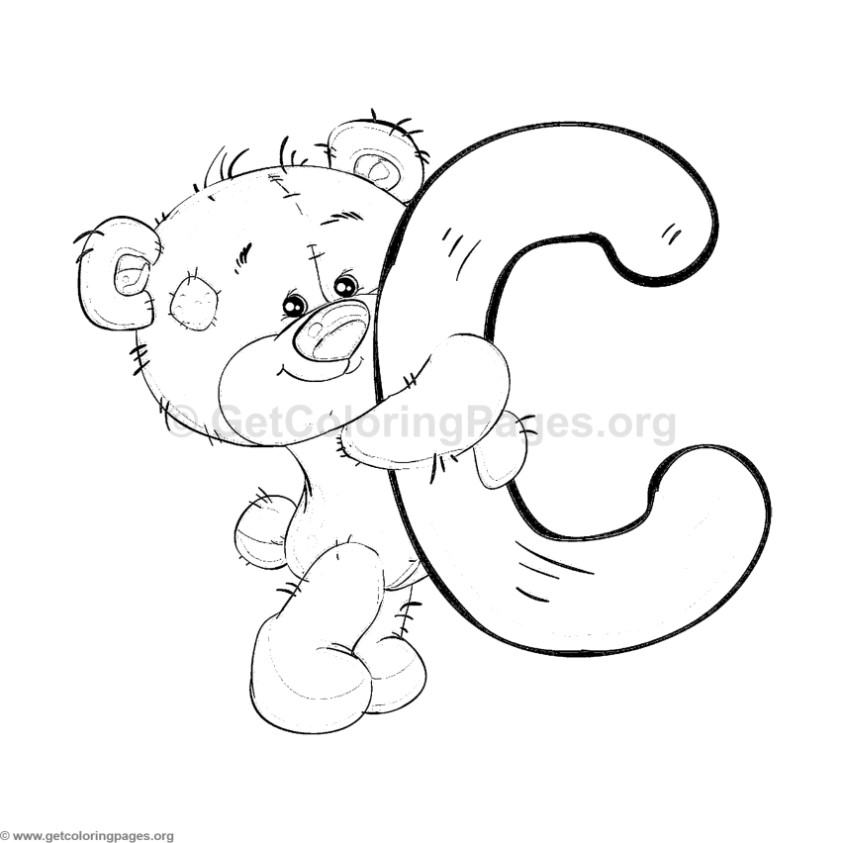 Teddy Bear Alphabet Letter Coloring Pages