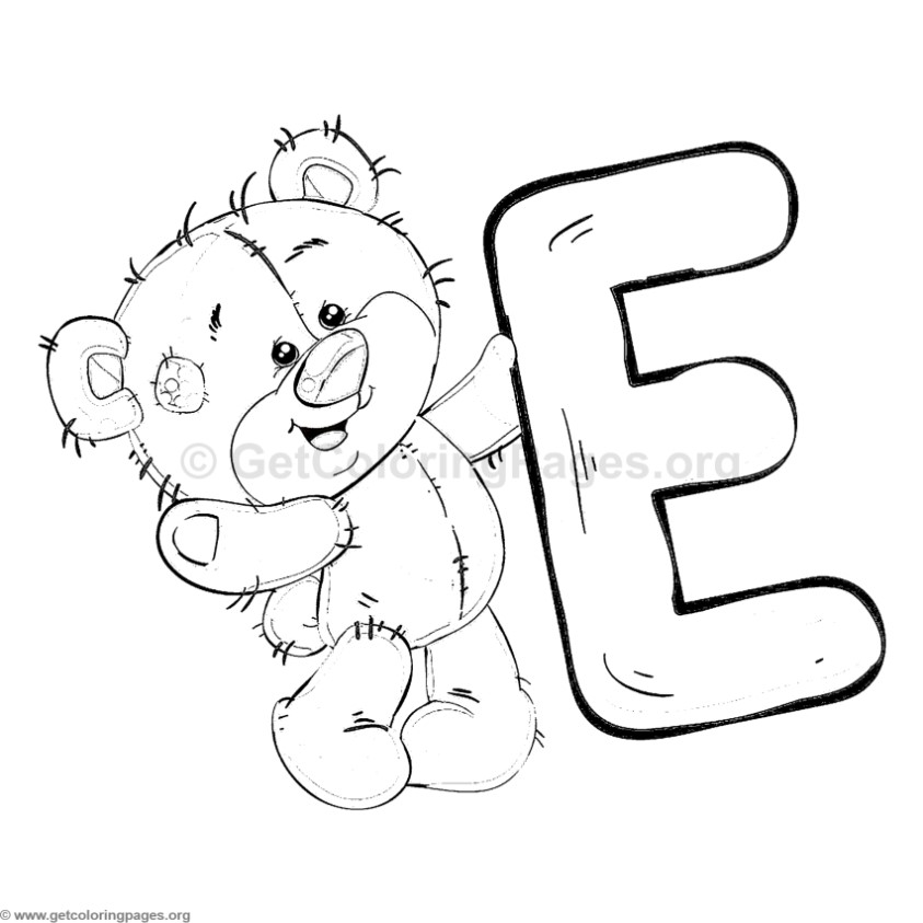 Teddy Bear Alphabet Letter E Coloring Pages