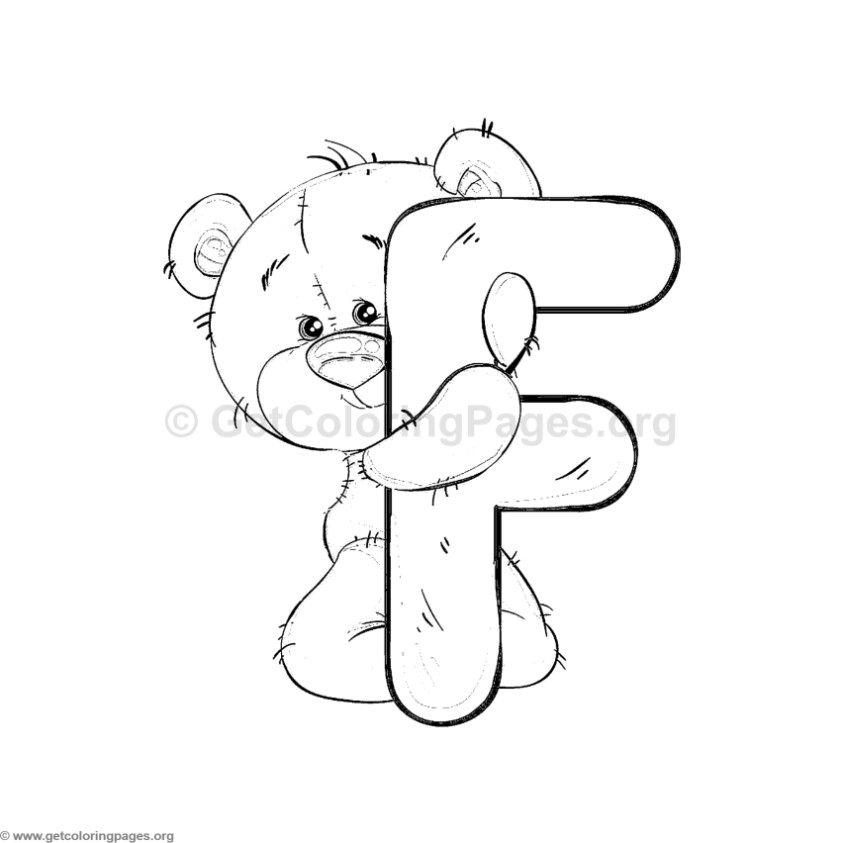 Teddy Bear Alphabet Letter F Coloring