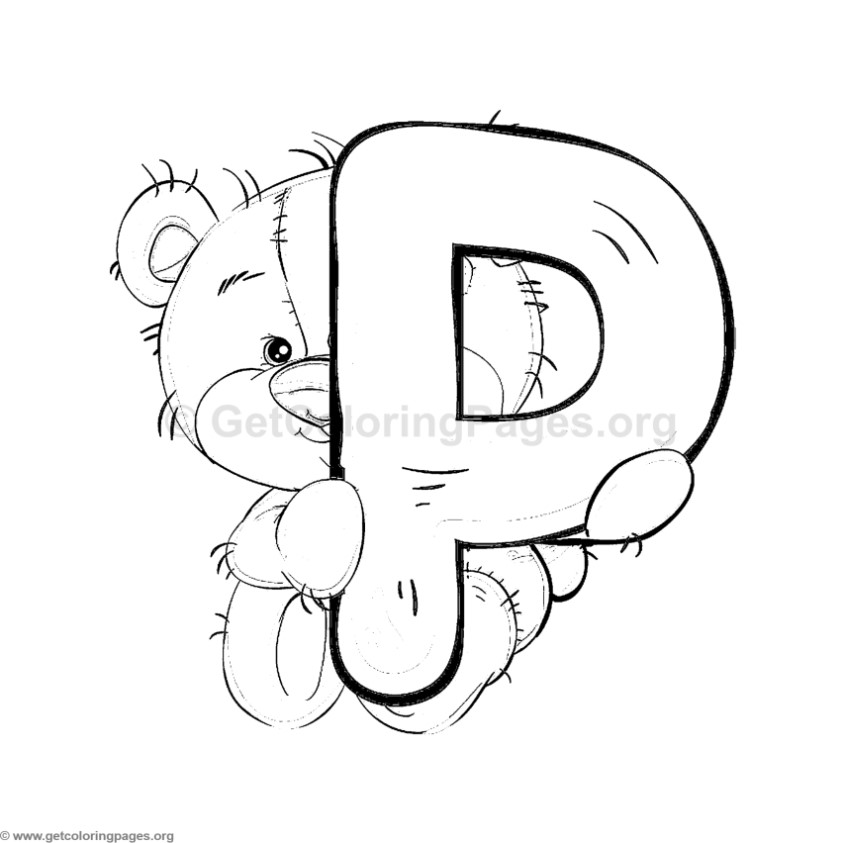 teddy bear alphabet letter p coloring pages