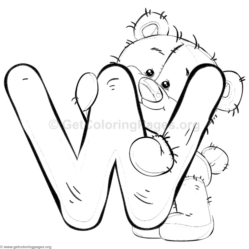 Teddy Bear Alphabet Letter W Coloring Pages