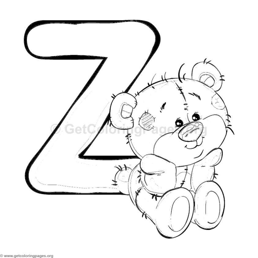Teddy Bear Alphabet Letter Z Coloring Pages