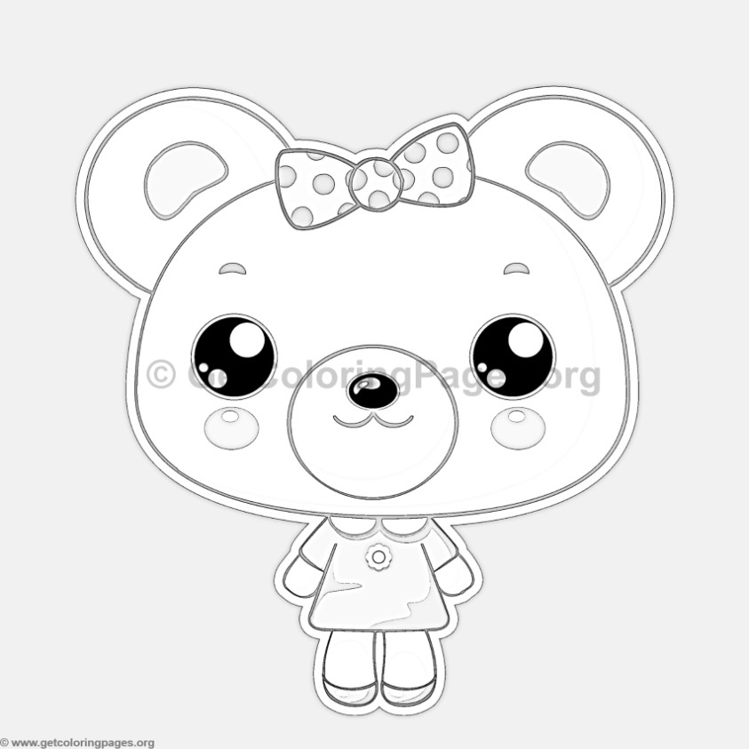 little bear coloring pages - cute little bear animal coloring pages