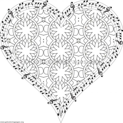 Musical Heart Coloring Pages 8