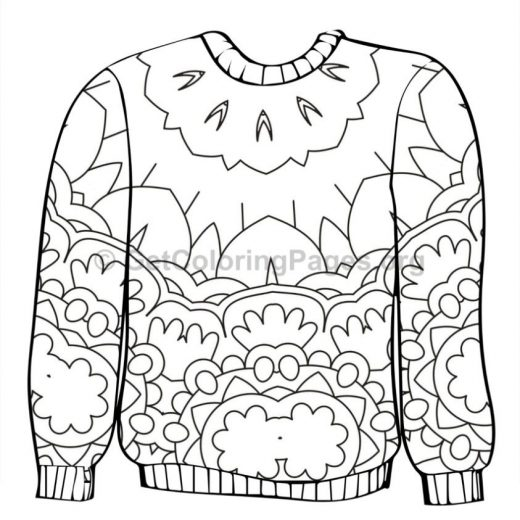 tagged christmas sweater coloring page
