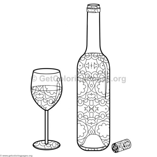 Wine Bottle and Glass Coloring Pages 9 GetColoringPagesorg