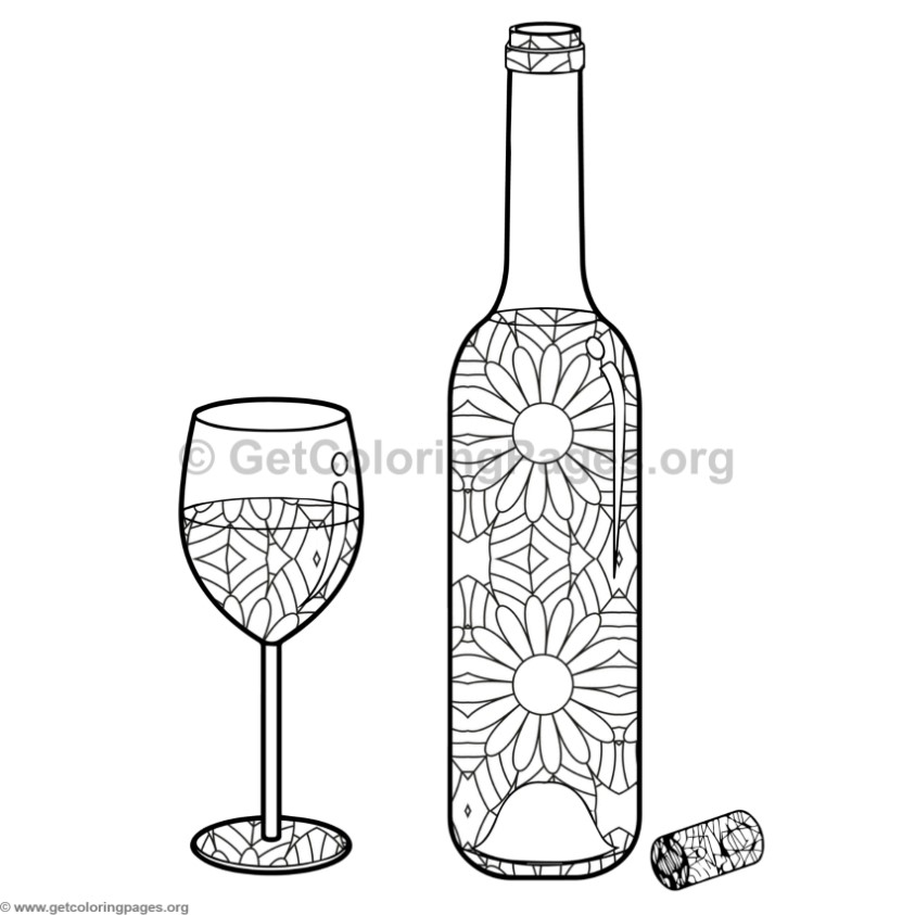 Wine Bottle and Glass Coloring