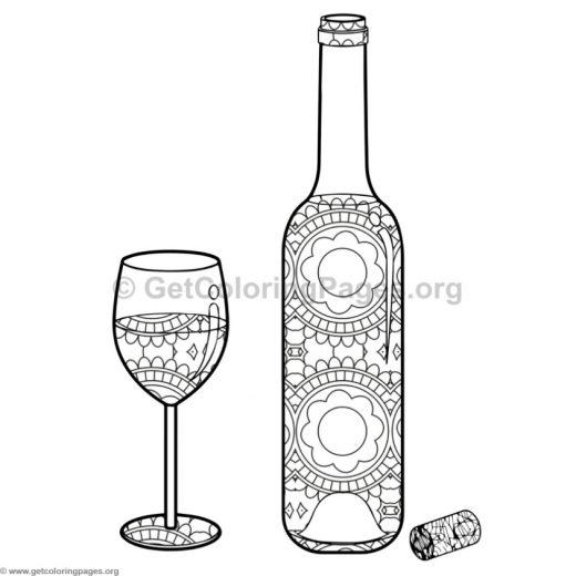 Wine Bottle And Glass Coloring Pages 3