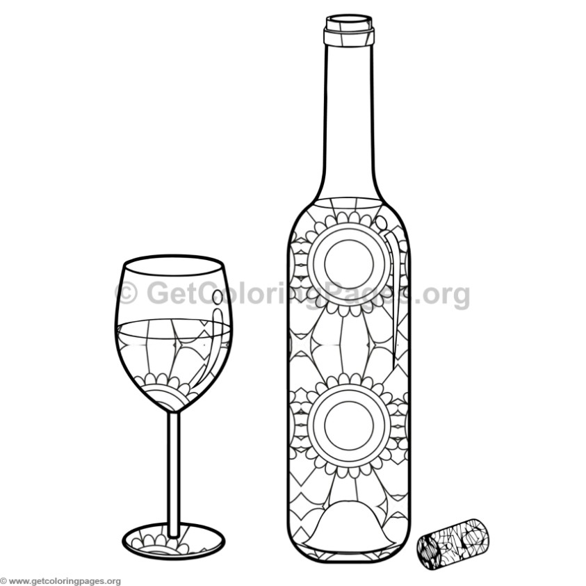 Wine Bottle and Glass Coloring Pages 5 GetColoringPages