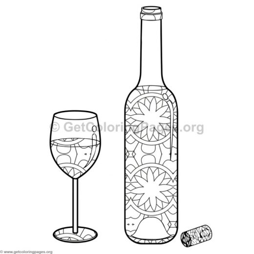 Wine Bottle And Glass Coloring Pages 8