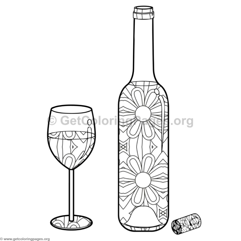 Wine Bottle And Glass Coloring Pages 9 Getcoloringpages Org