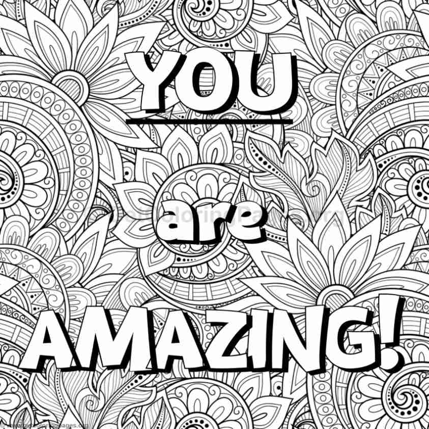 Inspirational word coloring pages 46 for Positive quotes coloring pages