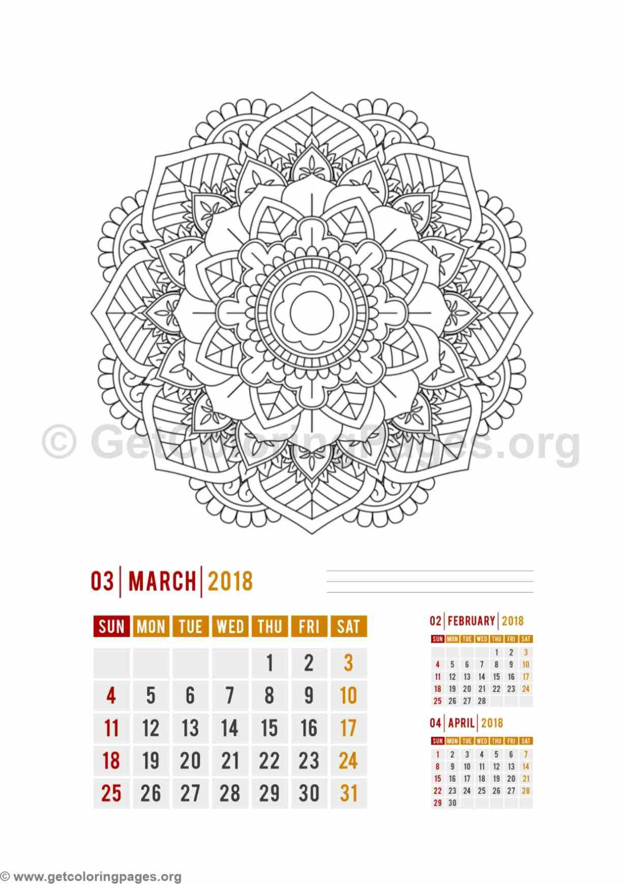 Flower Mandala March Calendar Coloring Pages