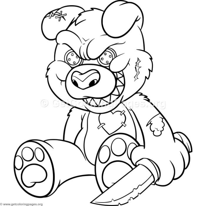 Funny Cartoon Evil Teddy Bear 2 Coloring Pages – GetColoringPages.org