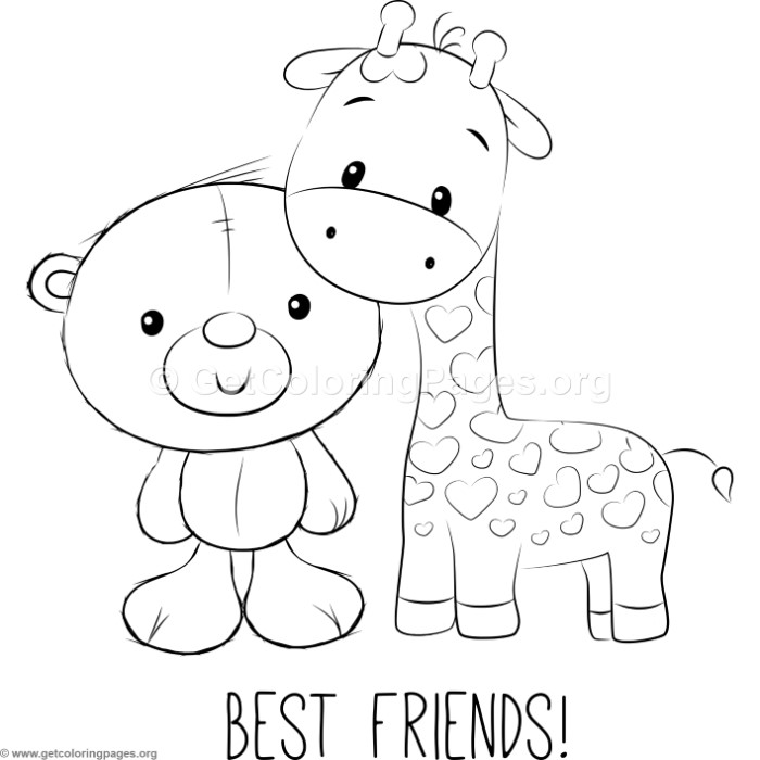 Cute Bear And Giraffe Coloring Pages Getcoloringpages Org