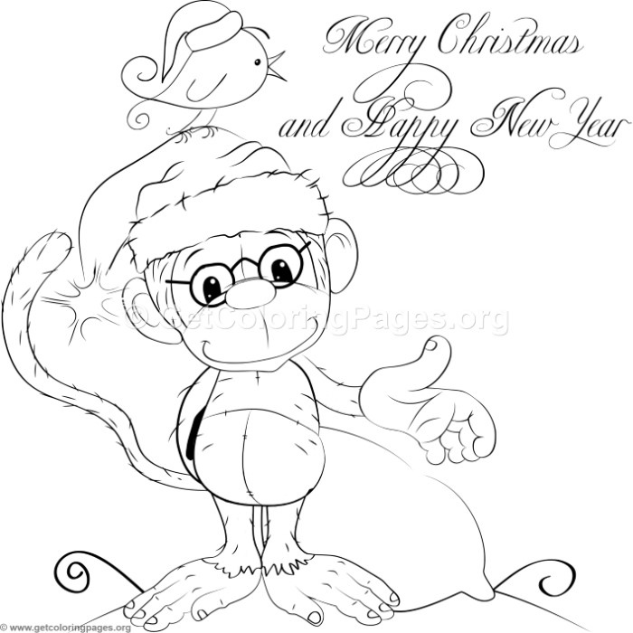 christmas monkey coloring pages | Cute Christmas Monkey Coloring Pages – GetColoringPages.org