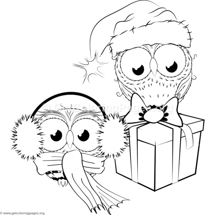 Cute Christmas Owls Coloring Pages Getcoloringpages Org