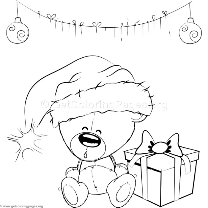 Cute Christmas Teddy Bear Coloring Pages GetColoringPagesorg