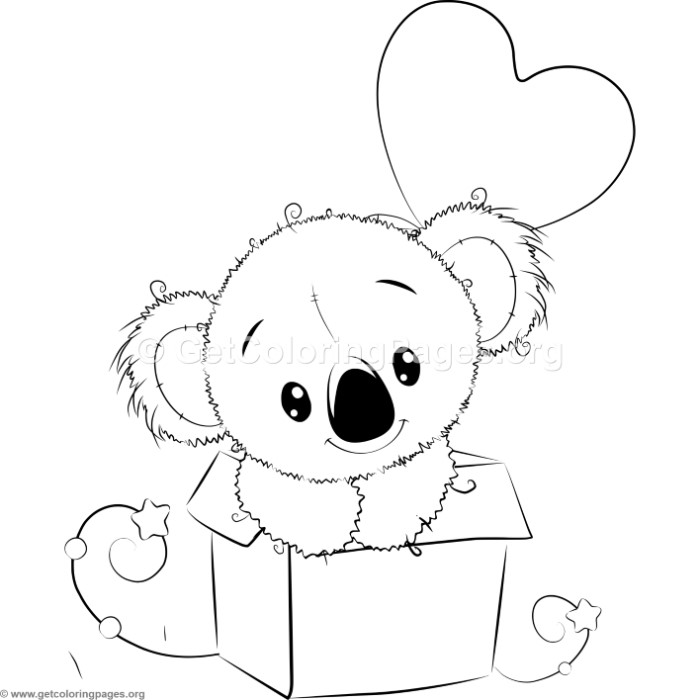 Cute koala 7 coloring pages for Koala coloring page