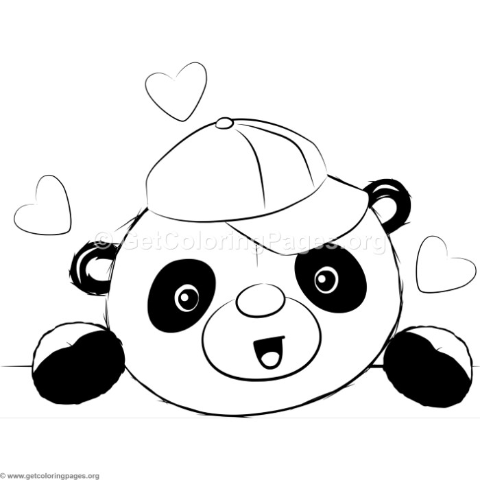 cute panda 4 coloring pages