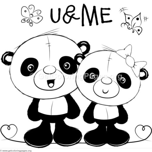 cute panda 5 coloring pages
