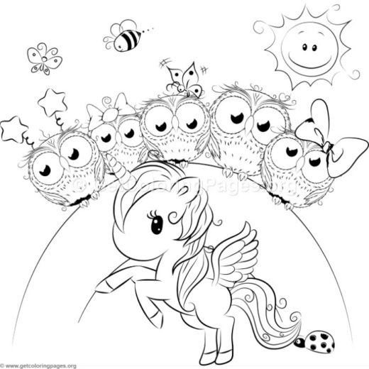 Cute Unicorn 4 Coloring Pages GetColoringPages