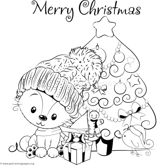 Cartoon Christmas Tree and Little Fox Coloring Pages