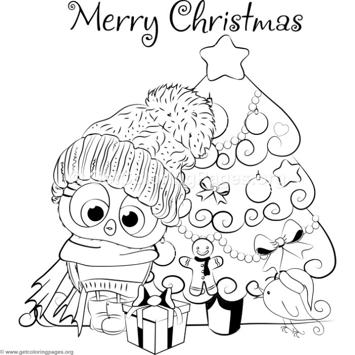 Cartoon Christmas Tree and Little