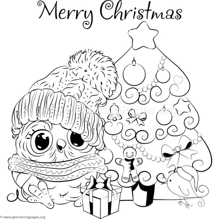 Cartoon Christmas Tree and Owl Coloring Pages